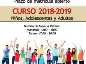 Plazo de matrícula abierto para el Curso 2018-2019, ¡reserva tu plaza ya!